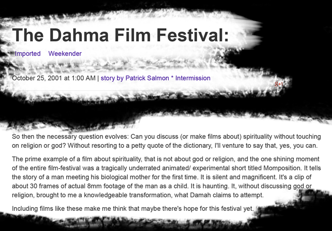 "Excerpt of a review of the ""Damah Film Festival"" from The Daily, of the Univ. of Washington"