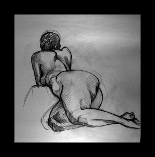 Reclining Nude, Charcoal on Paper, © 2009, Chris Pearce