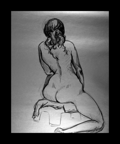 Seated From Back, Charcoal on Paper, © 2009, Chris Pearce