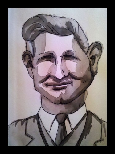 Old Photo Portrait 1, Watercolor and Ink on Paper, © 2010, Chris Pearce